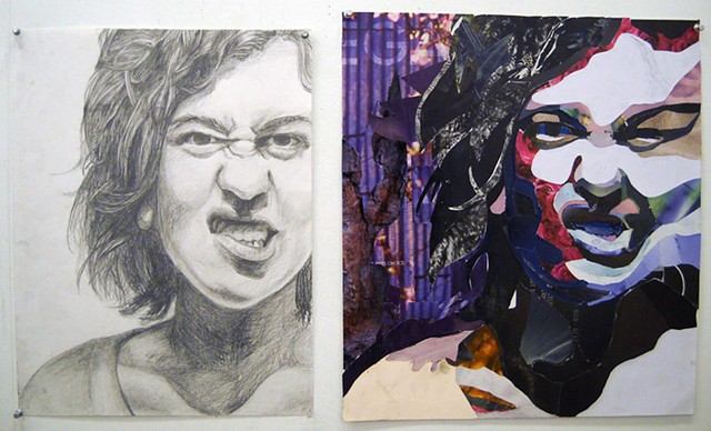 Drawing II: Collage and Graphite Portrait