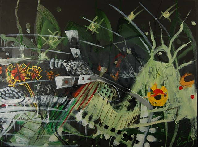 RKO, radio, spaceship, painting, abstract, little green men, surrealist landscape, modern, space aged art