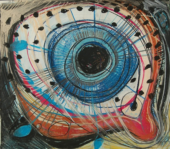 art, pastel, drawing, micro-macro, eye, atmosphere, space, UFO series, abstract art, surreal, introspection