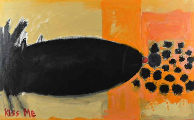abstract art, painterly style, Buffalo artist, orange, Bomb, Kiss, Surrealism, modern