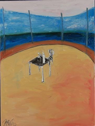 table and chair painting ocean scene