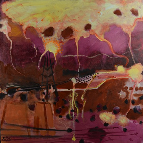 Abstract Tableau, purple landscape, Women history,