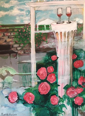 Buffalo rose garden painting wine glasses