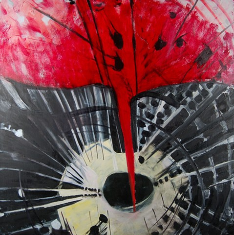 Painting by mary begley, artist, oil abstract UFO Series