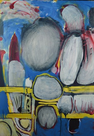 blue painting, abstract art by mary begley, balloons, expressionism,