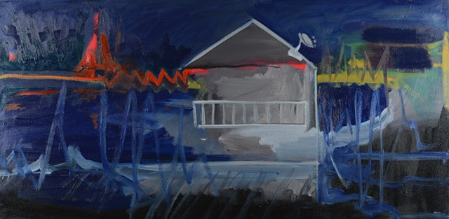 lake cabin blue painting at night expressionism painterly brush strokes modern scene satellite dish