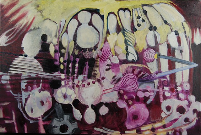 Abstract Tableau, onion nodes, medical art, bio art, abstract expressionism surrealism, landscape, space, purple