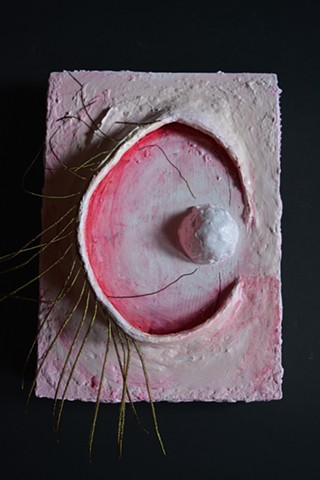 bio-art, Eyeball with eylases, sculpture, breast like forms