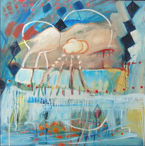 abstract art, painting, abstract art, outer space, art, oil painting, ufo,atmosphere, surrealistic, landscape, abstract
