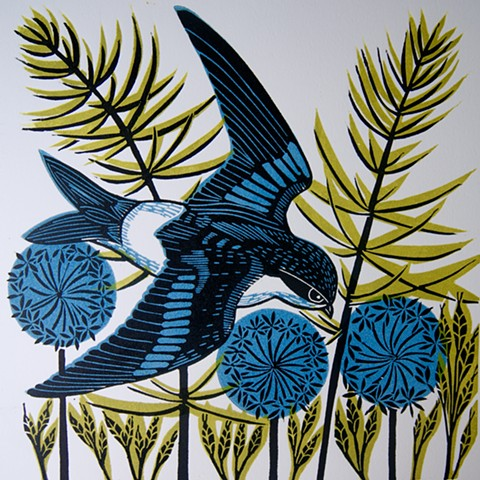 Housemartin Linocut  Print Flying Birds Three Blocks