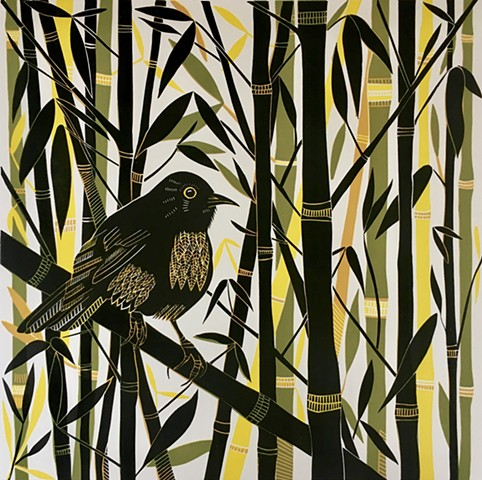 Blackbird Bamboo Multi Block Linocut Print Birds Green Black Yellow
