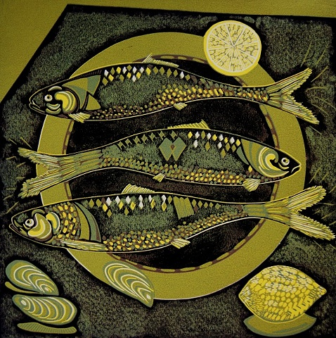 Fish and Lemons Linocut Print