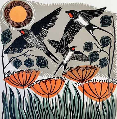 Migration Birds Flight Autumn Multi Block Linocut Original Print Swallows