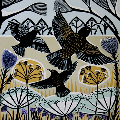 Winter Starlings Three Birds Trees Plants Multi Block Linocut Print