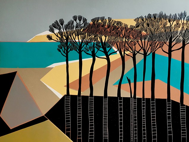 Otterhead Art Print Budleigh Beach Print Linocut by Cathy King