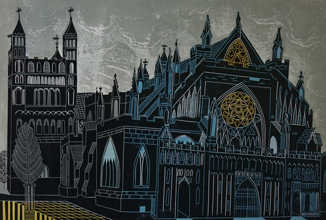 Exeter Cathedral Art Print English Churches Historic Building Exeter Linocut