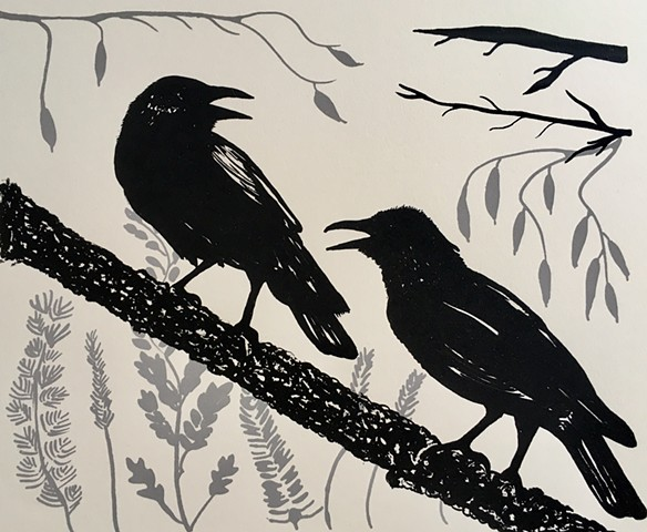 Birds Two Crows Screenprint