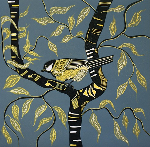 Great Tit Perched Twisted Willow Reduction Linocut Print Blue Yellow
