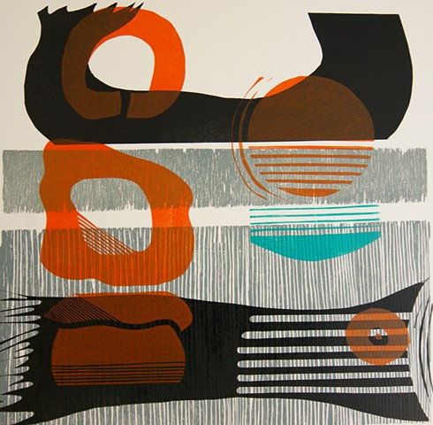 Abstract Woodcut Linocut Print Wave Print Grey Orange Black