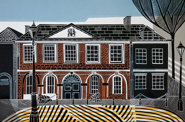 The Custom House Exeter Linocut Print Original Print Multi Block