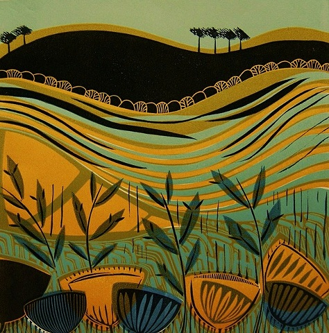 Riverwalk Linocut Print Landscape Fields Grasses Seedheads