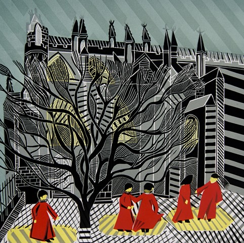 Exeter Cathedral Linocut Print English Churches Choristers Mulberry Tree