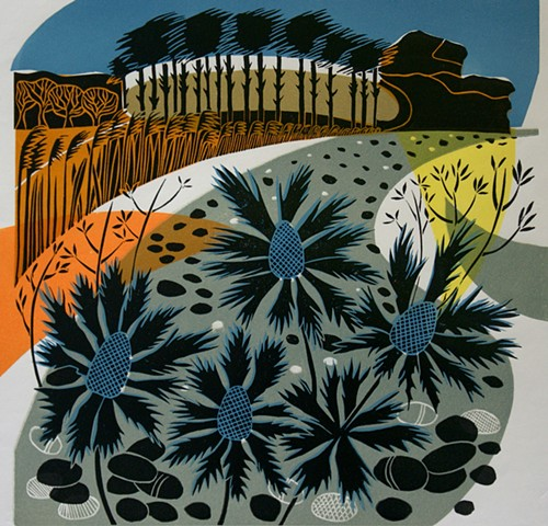 Budleigh Beach Multi Block Linocut Sea Holly
