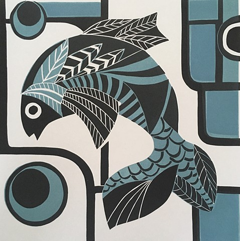 Fish Graphic Style Print Linocut Blue Fish Original Print