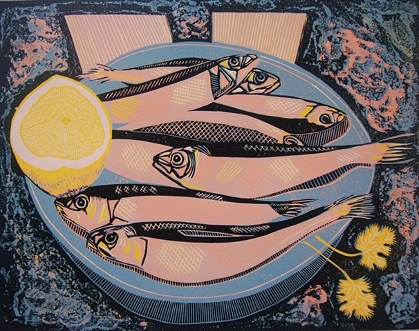 Sardines Linocut  Pink Fish Original Print Fish and Lemon