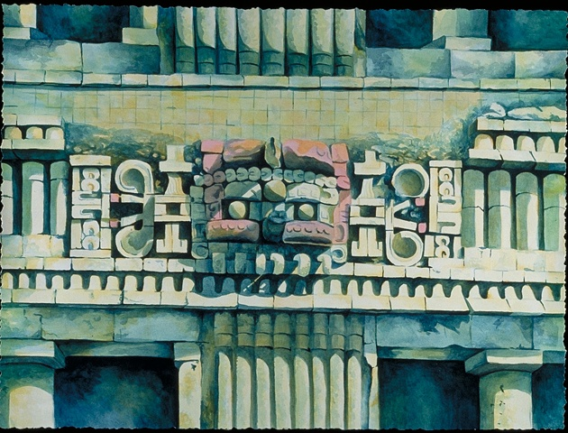 Painting of Mayan Ruins by Dena Cavazos