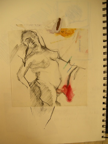 Study for painting: Stretching woman