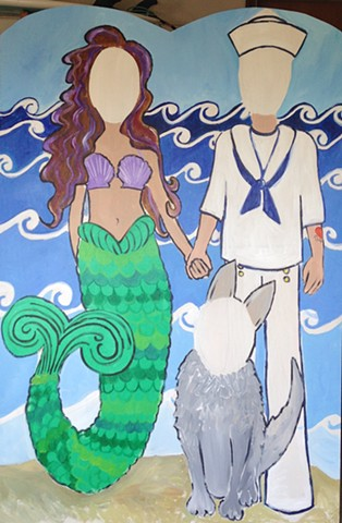 Mermaid and Sailor Photo Standee