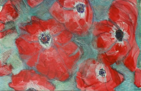 red poppies on silver back ground expressionist floral