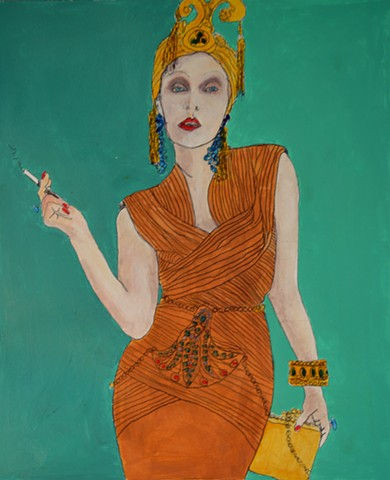 figure,portrait,fashion,art deco,original painting,consumer extraordinaire