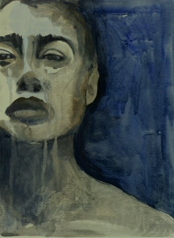 blue female portrait blue sadness grief and tears face of strenght