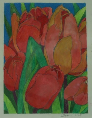 orange/red tulips green leavs on blue back ground