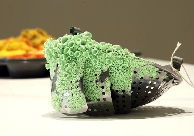"Jasmyne Graybill Specklebelly  Steamer basket, polymer clay 7"" x 7"" x 5"""