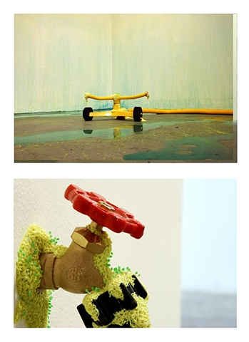 Jasmyne Graybill Run-Off Acrylic paint, polymer clay, sprinkler, spigot, water hose 9' x 7' square (Installation view)