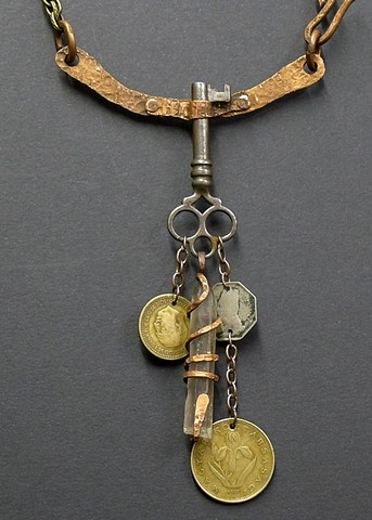 """Antique Key and Coins"""