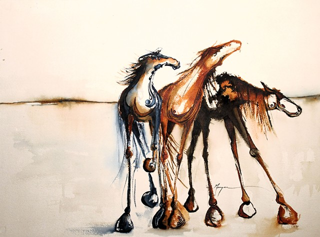 """Three Painted Horses"""