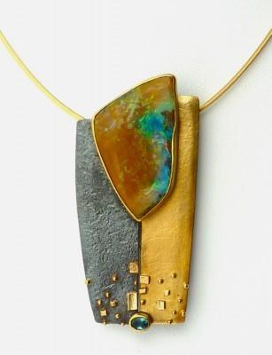 """Opal and Tourmaline Pendant"""