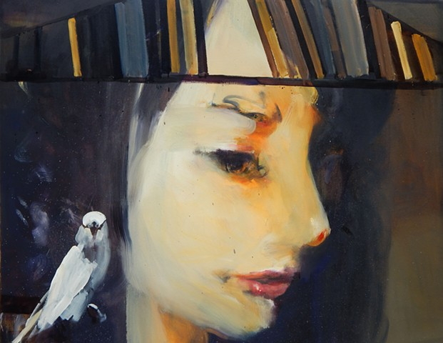 """Amy with Parakeet"""
