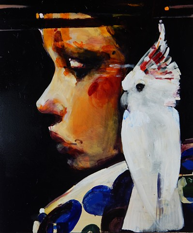 """Child with Leadbetters Cockatoo"""