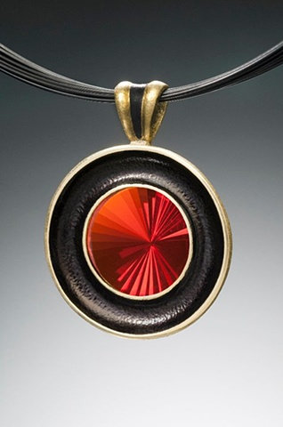 """The Gong Pendant"" with Turbine-Cut Fire Opal"