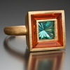 """The Frame Ring"" with Blue Tourmaline and Fire Opal"