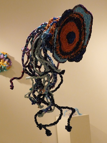 Chenille stem sculpture in the shape of a Discomedusa (jellyfish).