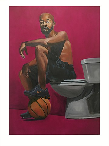 This portrait represents notions of black masculinity and the black experience in America