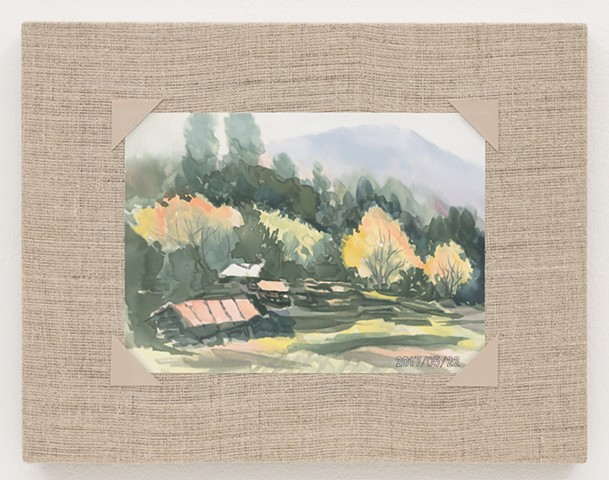 Watercolor of a Field in Autumn