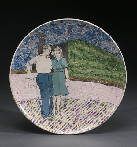 Wheel thrown porcelain plate, mishama inlay, decal collage