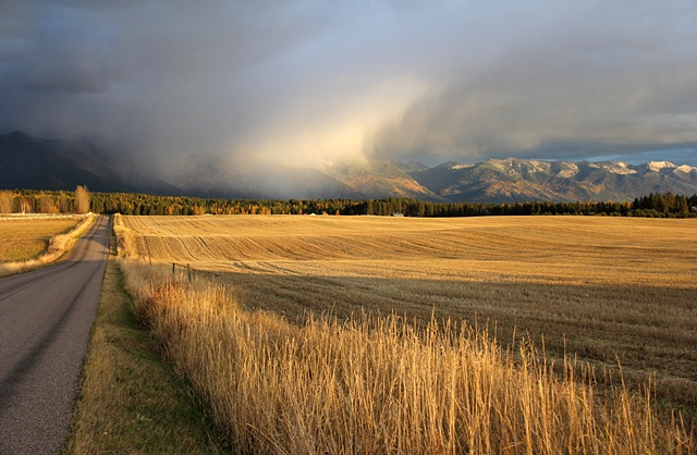 An autumn storm forms over the Jewel Basin and the Flathead Valley in northwest Montana.
